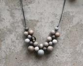 Wooden bead necklace, grey bib necklace, grey, grey wooden bead necklace, bib necklace, minimal, woven.