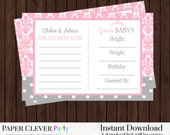 Baby Shower Game Advice, Predictions Girls Princess Pink Damsk Gray Polka-Dots Instant Download Activity