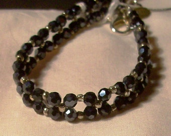 Black woven bracelet, 4 mm round crystal, silver seed beads 8 inch,  Free USA shipping only, #B767