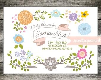 Folk Art Invitation Card Floral Flowers Pastel New Baby Shower - Custom - Digital Printable Cards