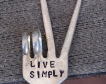 LIVE SIMPLY stamped Fork PEACE Sign House Plant Garden Art perfect Housewarming Gift or Hostess Gift