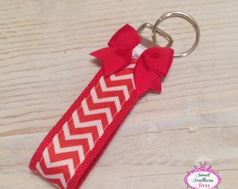 Red Chevron Wristlet - Key Fob - Key Chain