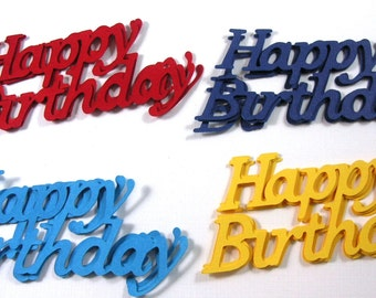 12 Happy Birthday die cut ebelllishments