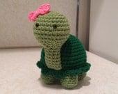 Girl Turtle- Crochet Amigurumi Stuffed Animal Plush- Green