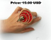 Zipper ring, polka dots, red and black, Gift ideas, spiral, hand painted, vintage zipper, upcycled recycled repurposed, SALE 30%OFF