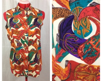 Cowgirl Sleeveless Blouse 1980s S/M