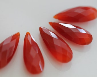 Orange Red Chalcedony Faceted Pear Briolette, 25 x 10 mm GM0703FP/25