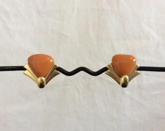 Vintage 80's Art Deco Burnt Orange Gold Clip on earrings