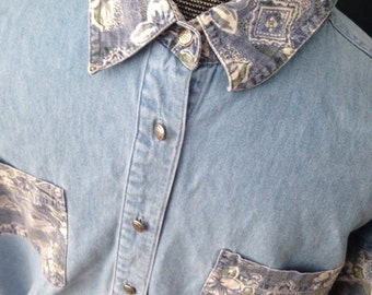 Denim and floral long sleeve button up shirt