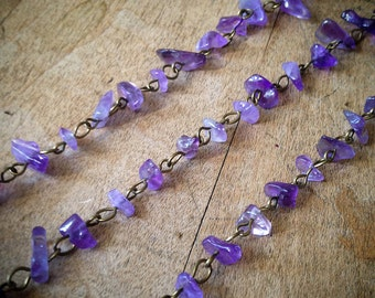 100cm Rock Faceted PURPLE Lavender Bead Necklace Chain 8mm Rock Bead Antique Bronze Chain Jewelry Making Supplies (EC141)