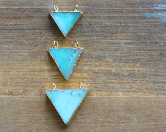 1 - Triangle Amazonite Pendant with 24K Gold Plating Flag Connector Gemstone Jewelry Making Supplies (K012)