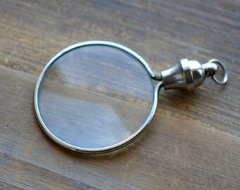 1 - Silver Monocle Magnifying Glass Pendant REALLY WORKS Silver Vintage Style Jewelry Supplies (BA074)