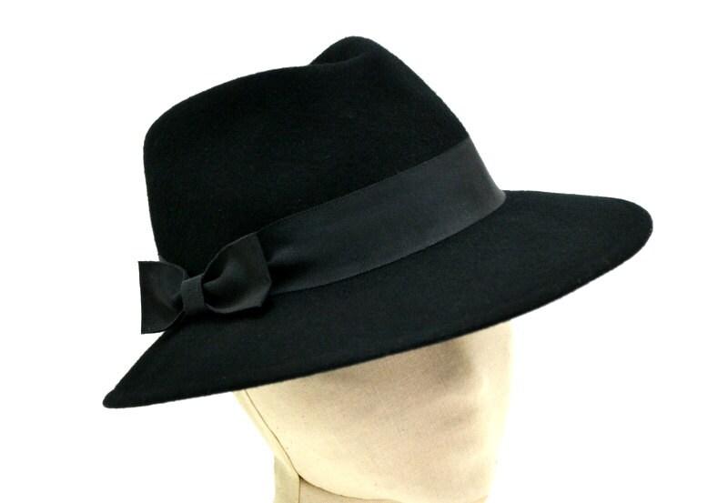 vintage sonni womens black fedora hat vtg bow by