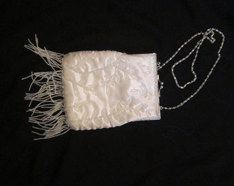 White Silky Evening Bag with Tiny Beaded Flowers