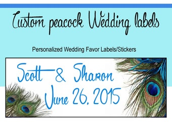 Peacock Wedding Favors Stickers, Personalized Wedding Stickers, Wedding Favor Stickers, Wedding Seals, Peacock Wedding Favor Labels