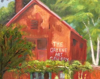 Original Oil Painting / Red Barn Landscape / 16 x 20 / Guilford, Connecticut / Fine Art Oil on Canvas