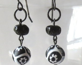 Black and White Murano Glass Flower Earrings with Black Vintaj Arte Metal