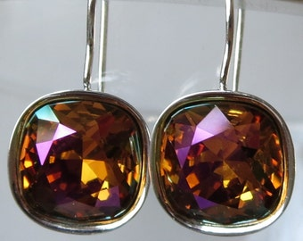 Mahogany Crystal Cushion Cut Silver or Gold Earrings