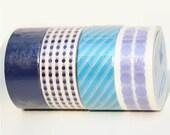 Polka Dots,Stripes,and Solid Black Washi Tape Set of 4 Rolls