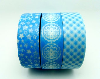 Light Blue Washi Tape Set of 3 Rolls-10m Grid Star and Flower