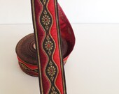 33 mm red and burgundy  Wave  Motif Jacquard ribbon, Embroidered border, Jacquard trim, Woven Border, Craft border, gold daisy Motive ribbon