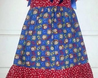Curious George Boutique Custom Made Pillowcase Dress w/ Red White Polka Dot Layers