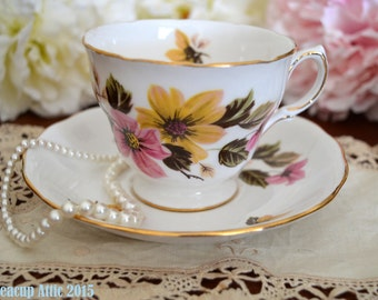 Royal Vale Teacup and Saucer Set with Pink and Yellow Flowers, c. 1962-1964