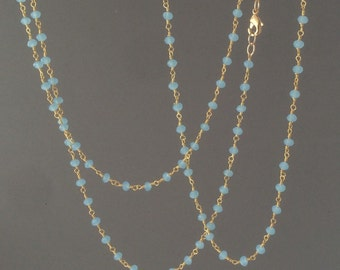 Long or Short Teal Chalcedony Stone Gold Beaded Necklace