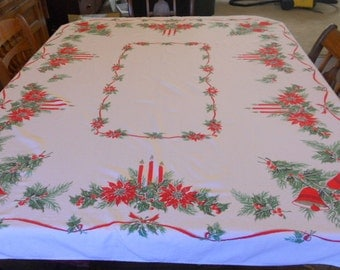 Vintage Christmas Table Cloth Cotton Rectangle Holiday Table Cloth Red and Green