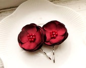 2 Dark Red Wedding Hair Flowers, Small Red Flower Hair Clips, Red Silk Flower Hair Pins, Red Floral hairpiece, red Hair accessories girls