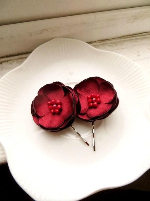 2 Dark Red Wedding Hair Flowers, Small Red Flower Hair Clips, Red Satin Flower Hair Pins, Red Floral hairpiece, red Hair accessories girls