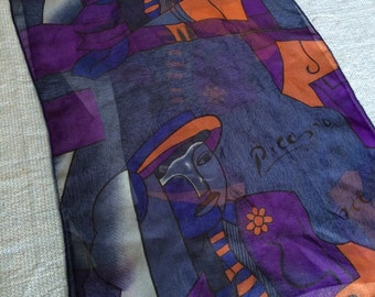 Vintage Piccaso Scarf Oblong Sheer Scarf Long Purple and Blue Vintage Fashion Scarf Art Scarf