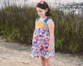 Charlie Dress Floral Summer Dress Adgustable Straps Sizes 2t - 8 girls