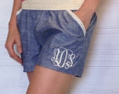 Ladies monogram shorts, womens monogram shorts, Crochet denium chambray shorts, chambray monogram shorts sz S, M, L