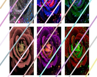 """Rose Glow 1"""" x 2"""" Domino Images 4x6 Digital Collage Sheet Instant Download"""