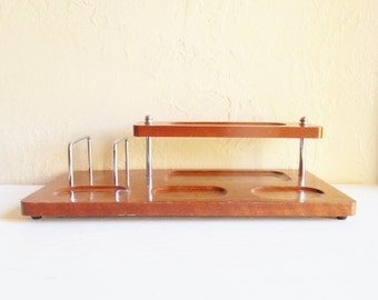 Vintage Wood Dresser Valet 2-Tier Jewelry Storage Tray Silver Metal