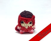 "PDF Pattern for Crocheted Scarlet Witch Amigurumi Kawaii Keychain Miniature Doll ""Pod People"""