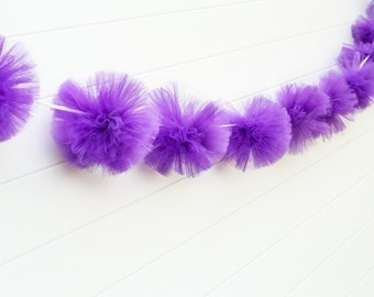 Purple tulle garland Party decorations, weddings, baby showers, room decor