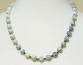Yin Yang blend of Natural Agate Stones / Beaded necklace with dark gray swarovski pearl spacers w/matching earrings