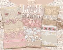 LACE TRIM BORDER ClipArt Realistic Digital Lace Ribbon Printable download Wedding CardMaking Photographer Web Design Pink White Floral b05