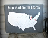 USA Map - Home is Where the Heart Is - Personalized Custom United States Map USA Map Travel Map Valentine Wedding Anniversary Birthday Gift