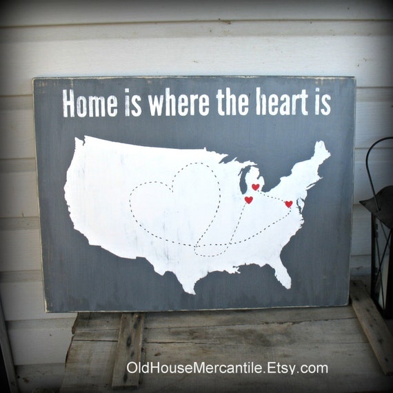 usa map home is where the heart is personalized custom. Black Bedroom Furniture Sets. Home Design Ideas