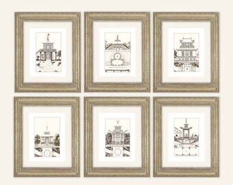 6 Set of Sepia Pagoda Blueprints & Architectural Plan Archival Prints on Watercolor Paper