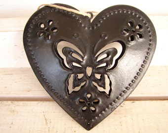 shabby chic,hanging tin heart,butterfly design,distressed black-double-sided