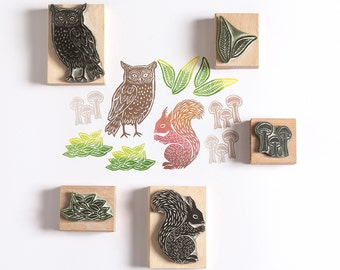 Owl and Squirrel Rubber Stamp