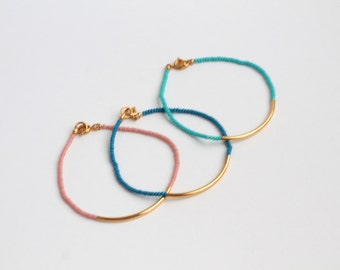 Gold plated tube bracelet - colorful czech glass seed beads - gold bar minimalist bracelets by fildee