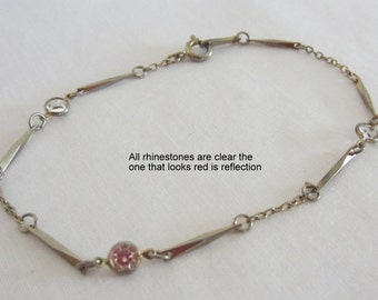 Dainty Bracelet Gold tone Link and Chain Bracelet with Clear Crystal Rhinestones by Avon