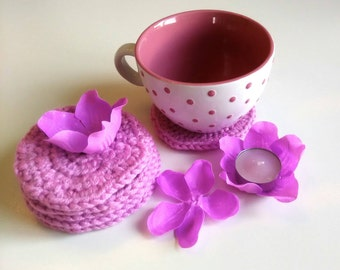 Crocheted pink coasters