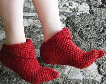 Winter discount sales Knitted Slippers - Red Women Slippers - house shoes, Slipper, Sock, Winter Fashion, Knit Slippers Booties