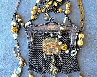 Vintage purse assemblage necklace belt, shoulder bag golden pearls art glass flapper style